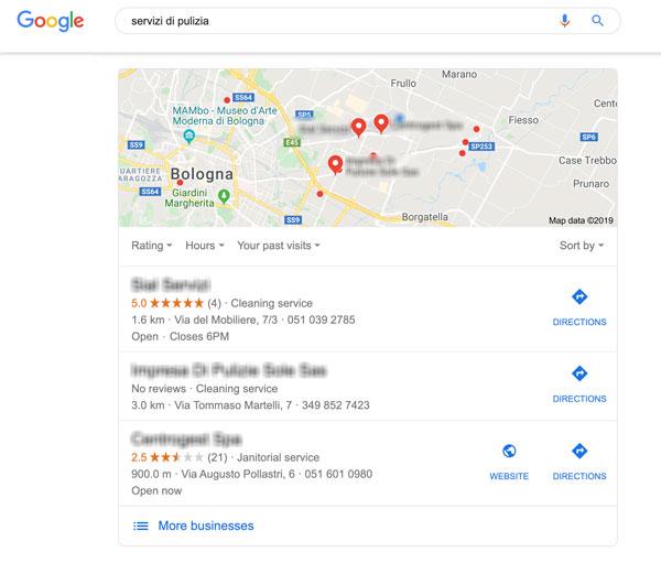 Esempio di risultati da Google My Business Page